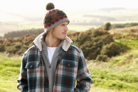 woolly: Young man in the country Stock Photo