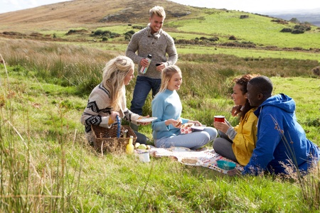 staycation: Young adults on country picnic Stock Photo