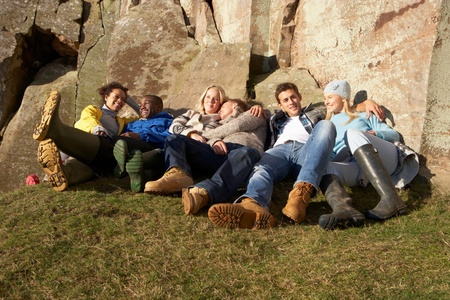 weekend break: Young adults in countryside