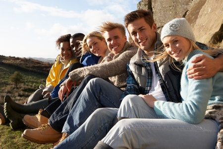 Young adults in countryside photo