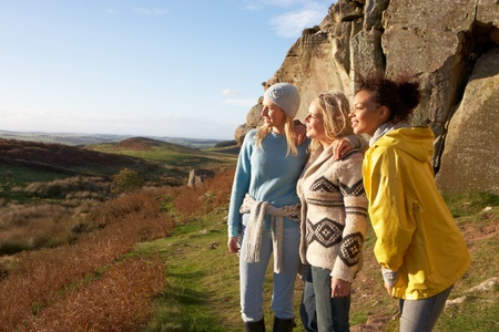 woman hiking: Young women on country walk Stock Photo
