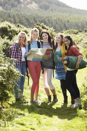 16 year old girls: Group Of Teenage Girls On Camping Trip In Countryside