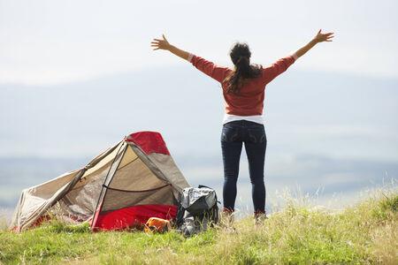 16 year old girls: Teenage Girl On Camping Trip In Countryside