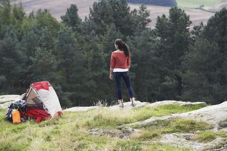 rucksack ': Teenage Girl On Camping Trip In Countryside