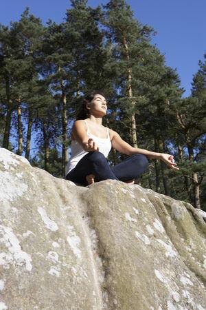 16 year old girls: Teenage Girl Meditating Outdoors