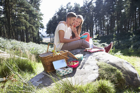 hamper: Young Couple Enjoying Picnic In Countryside