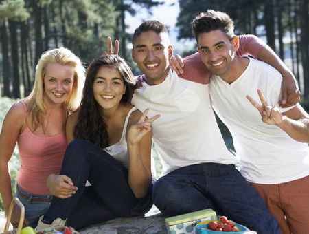 boy 16 year old: Group Of Young People Relaxing In Countryside