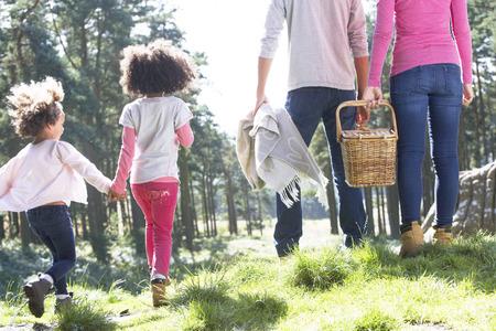 family picnic: Familia que tiene comida campestre en campo