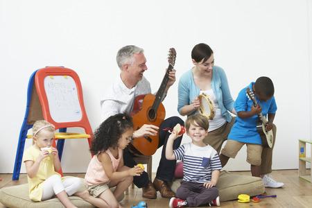 pre schooler: Pre School Music Lesson Stock Photo