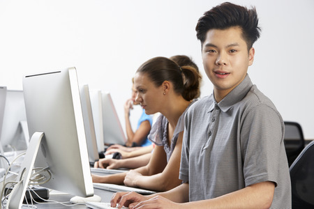 boy 16 year old: Group Of Students In Computer Class