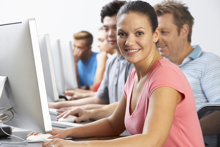 Group Of Students In Computer Class photo