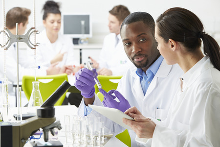 Group Of Technicians Working In Laboratory photo