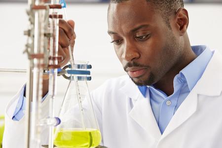 investigador cientifico: Cient�fico Estudiar l�quido en frasco Foto de archivo