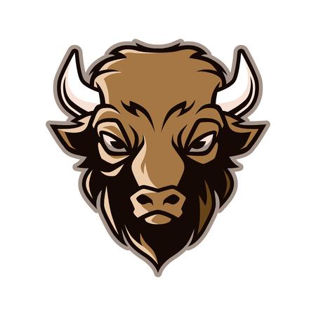 Bison Head Mascot Vector Stock Illustratie
