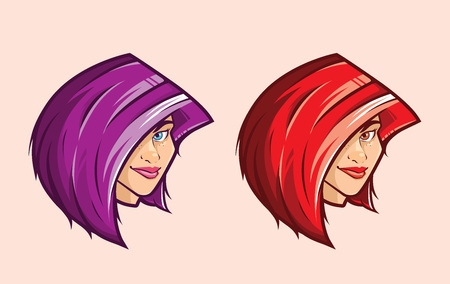 Emo Purple Hair and Red Hair Girl Illustration in Vector