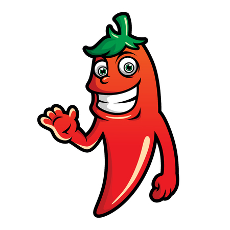 Cute red hot chilli pepper character illustration in cartoon style  イラスト・ベクター素材
