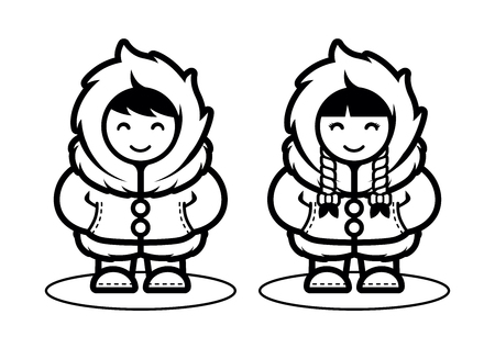 Young Eskimo Cute Couple Illustration in Cartoon Style. Illustration for Children Coloring Book  イラスト・ベクター素材