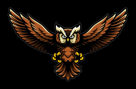Flying Owl with Open Wings and Claws Logo Mascot in Sport Style