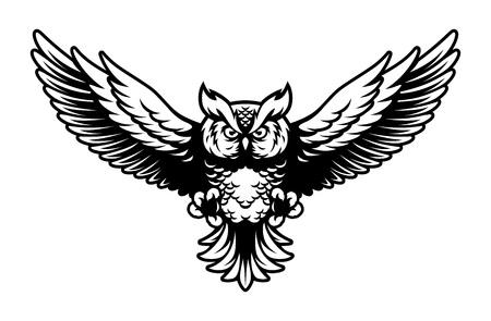 Mascota del logotipo del búho volador con alas abiertas y garras en estilo deportivo