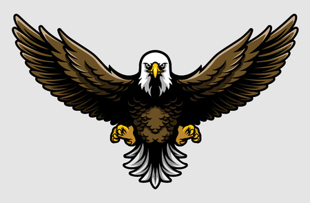 American Bald Eagle with Open Wings and Claws in Cartoon Style Vetores