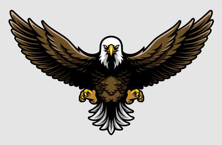 Pygargue à tête blanche américain avec ailes ouvertes et griffes en style dessin animé Vecteurs