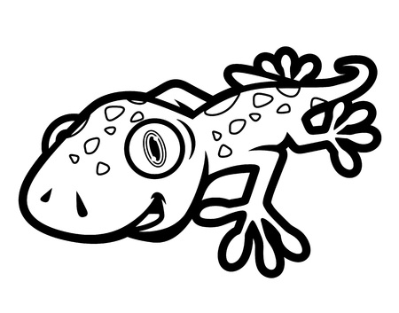 Black and White Cute Gecko Crawling Illustration in Cartoon Style for Coloring Book 일러스트