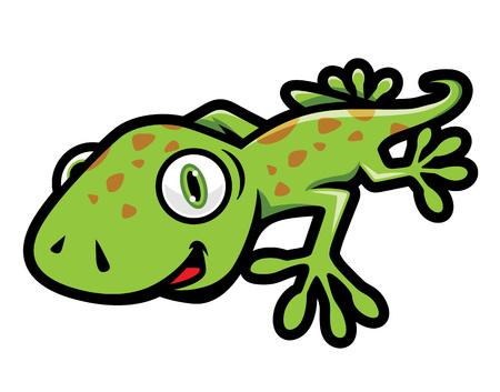 Simpatico geco verde che striscia illustrazione in stile cartone animato Vettoriali