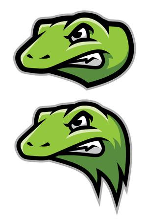 Green Gecko, Lizard, Reptile Head Logo Mascot Standard-Bild - 117629148