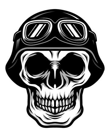 Detailed Classic Skull Head Wearing Retro Biker Helmet and Pilot Goggles Illustration Illustration