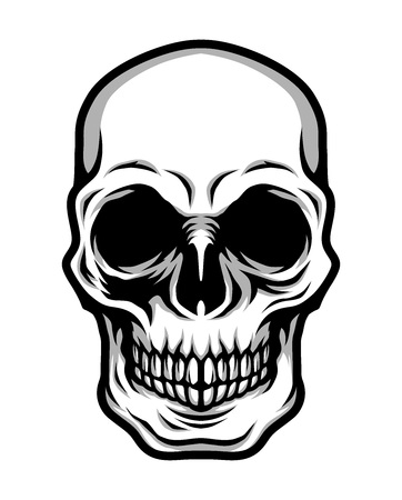 Detailed Classic Skull Head Black and White Illustration  イラスト・ベクター素材