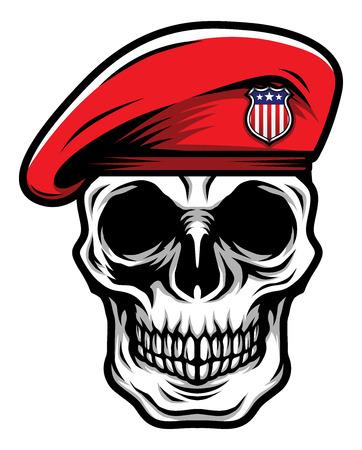 Tête de crâne classique détaillée portant une illustration de béret militaire rouge