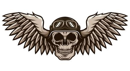 Detailed Classic Skull Head Wearing Retro Biker Helmet and Pilot Goggles With Spreading Wings Motorcycle Badge Design