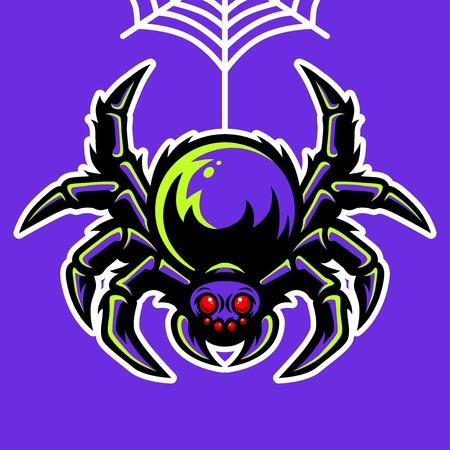 Spider Mascot Hanging On The Spider Web Illustration Illustration