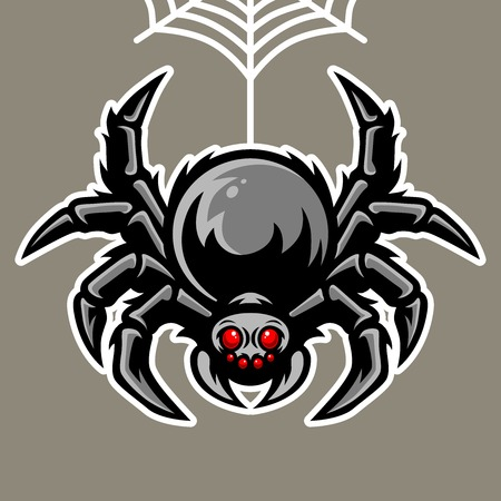 Spider Mascot Hanging On The Spider Web Illustration