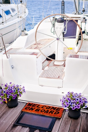 yachting: Welcome to the yacht, flowers at the entry to a yacht
