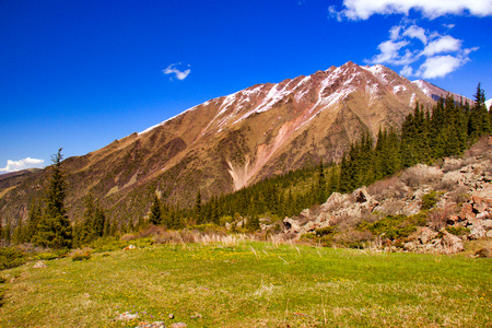 Mountain landscapes of Kyrgyzstan. Spring in the mountains. Near Kor Tol lake.