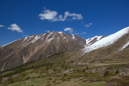 Mountain landscapes of Kyrgyzstan. Spring in the mountains. Near Kor Tor lake. Stock fotó