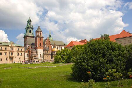 Krakow, Poland -June 1, 2019 Wawel castle. View from garden inside castle area. Wawel landscape.
