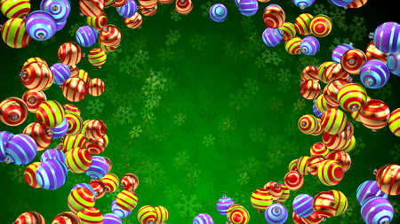 Green christmas seasonal background with ornaments