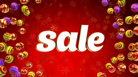 Sale on red christmas background with ornaments