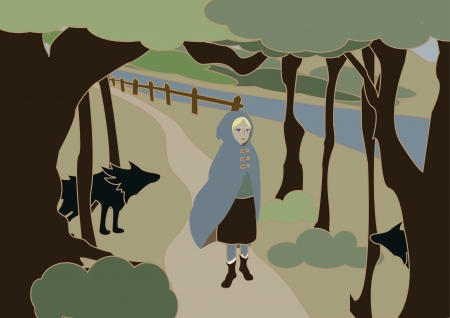 The girl in a raincoat goes on the wild wood Vector