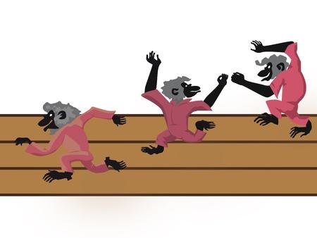 Three monkeys running on a path Stock Vector - 18212435