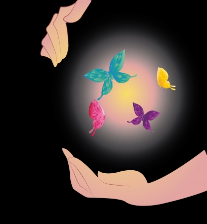 shone: Being shone sphere with butterflies in hands