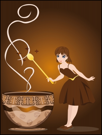 The fairy conjures with a cup of coffee