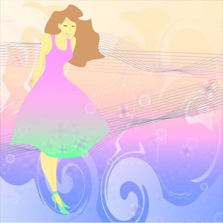 the young girl on a motley background Vector