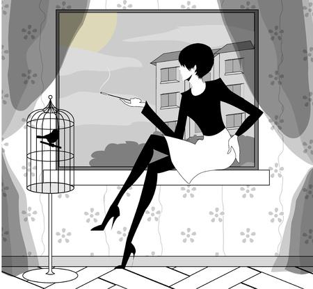 the Gothic girl smokes near a window Stock Vector - 18255436