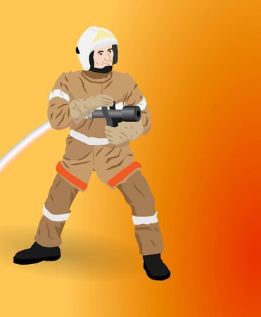 the man with a hose is going to extinguish a fire Stock Vector - 18365987