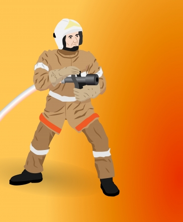 extinguish: the man with a hose is going to extinguish a fire