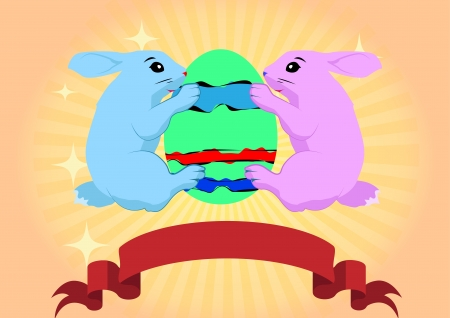 two rabbits embrace an Easter egg Stock Vector - 18436247