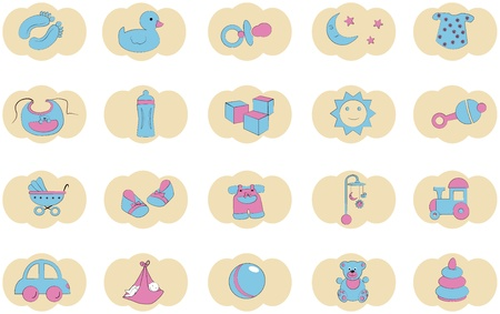 baby's feet: set of icons for kids